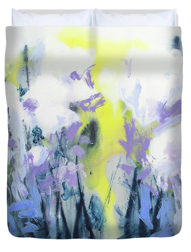 Abstract Duvet Cover featuring the painting A Patch Of Purple by Claire Desjardins