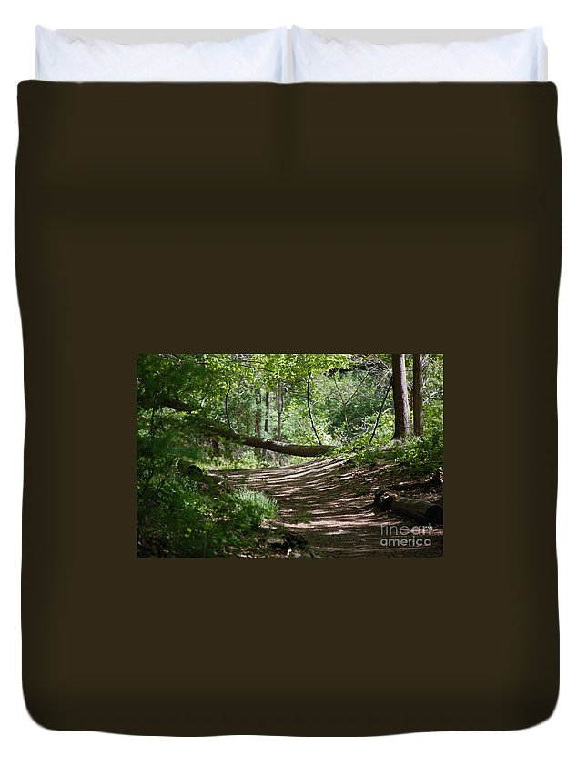 Landscape Duvet Cover featuring the photograph A Path In The Woods by David Lane