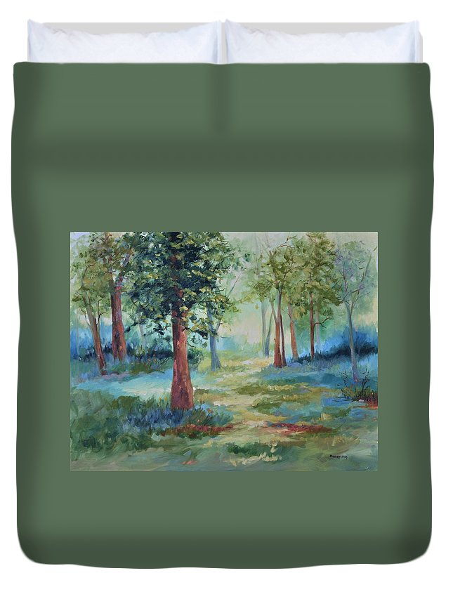 Trees Duvet Cover featuring the painting A Path Not Taken by Ginger Concepcion