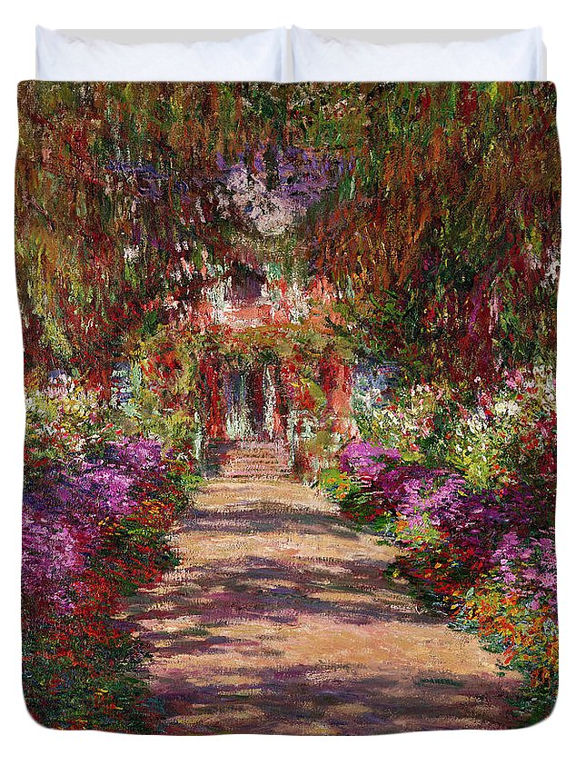 Pathway Duvet Cover featuring the painting A Pathway In Monets Garden Giverny by Claude Monet