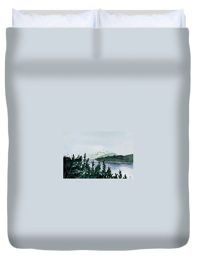 Landscape Duvet Cover featuring the painting A Peaceful Place by Brenda Owen