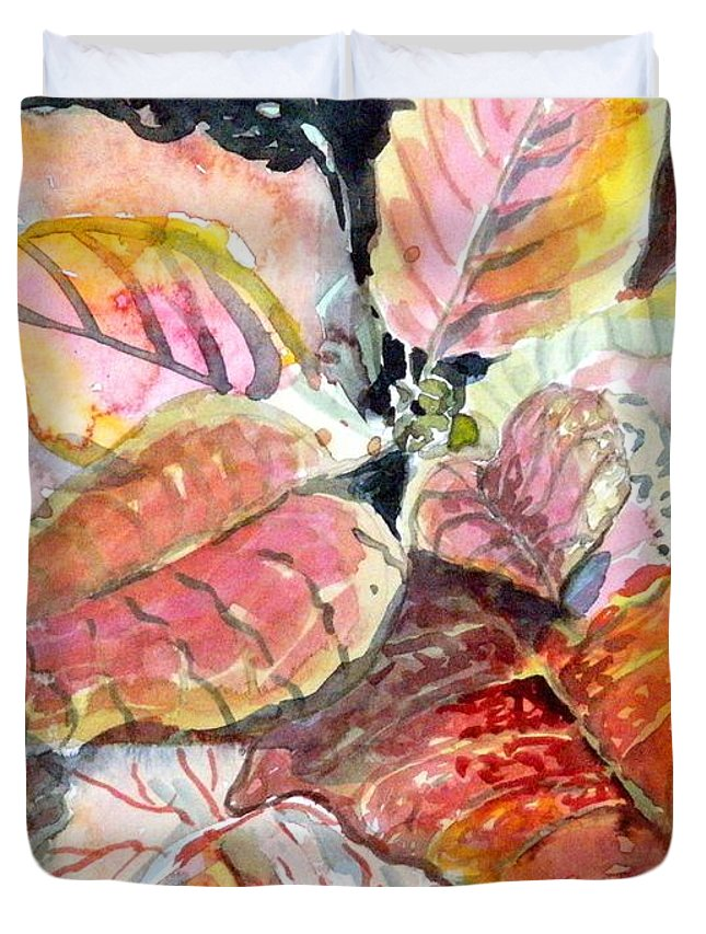 Poinsettia Duvet Cover featuring the painting A Peach Of A Poinsettia by Mindy Newman