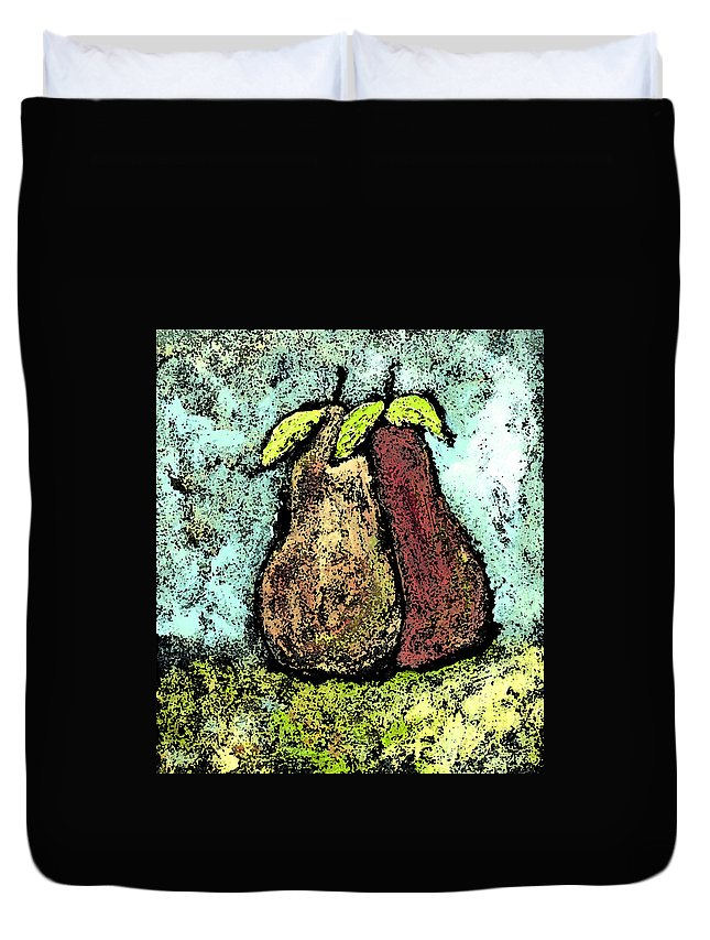 Pears Duvet Cover featuring the painting A Pear Pair by Wayne Potrafka