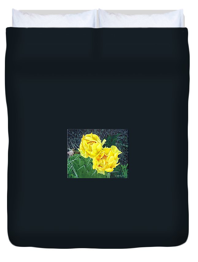 Cactus Blooms Duvet Cover featuring the painting A Pear To Draw To by Jim Bob Swafford