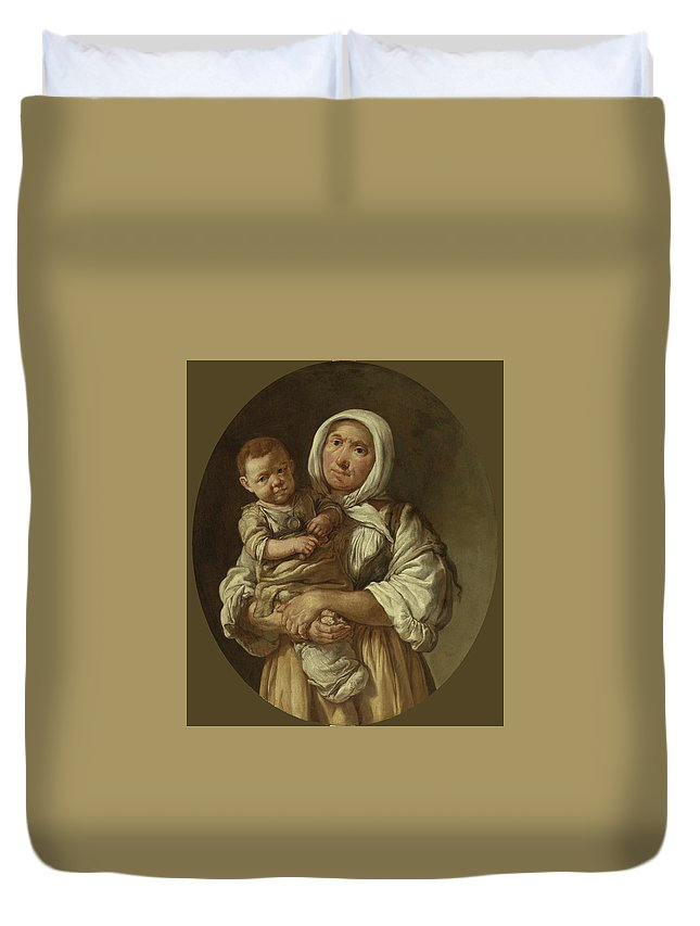 Giacomo Ceruti Duvet Cover featuring the painting A Peasant Mother With Her Child In Her Arms by Giacomo Ceruti