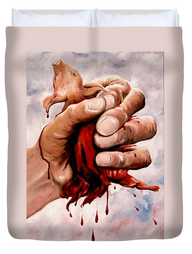 Surreal Duvet Cover featuring the painting A Pigs Life by Mark Cawood