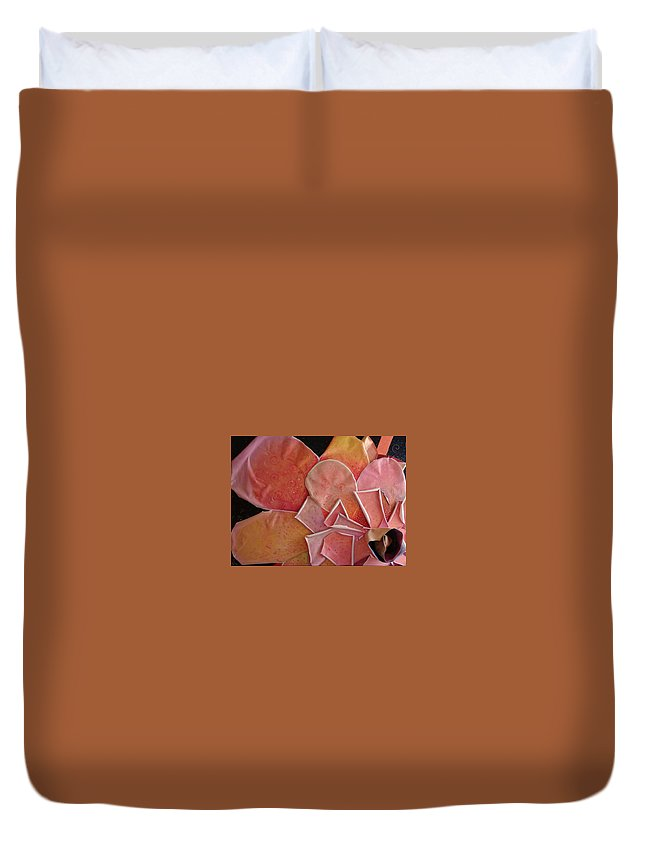Sculptural Duvet Cover featuring the painting A Pink Experience by Helena Tiainen