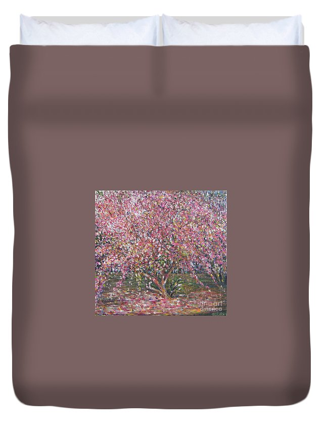 Pink Duvet Cover featuring the painting A Pink Tree by Sukalya Chearanantana