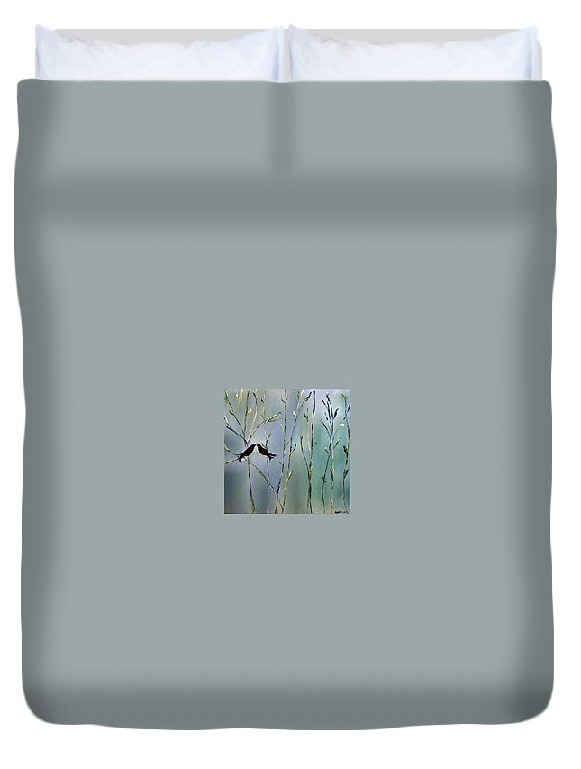 Bird Art Duvet Cover featuring the painting A Place For Us by Dolores Deal