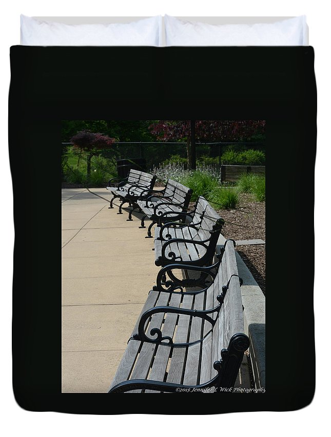 Benches Duvet Cover featuring the photograph A Place To Sit by Jennifer Wick
