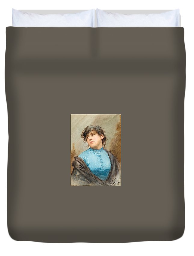 Ernesto Levorati Duvet Cover featuring the drawing A Portrait Of A Young Woman In A Blue Dress by Ernesto Levorati