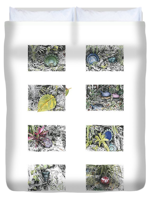 Tropical Duvet Cover featuring the drawing A Potters Garden by Kerryn Madsen-Pietsch