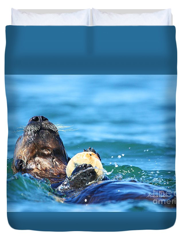 Otter Duvet Cover featuring the photograph A Prayer Of Thanks by Alison Salome