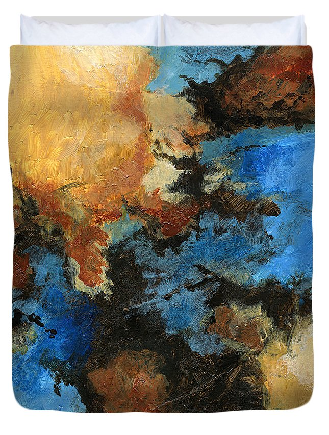 Abstract Duvet Cover featuring the painting A Precious Few Abstract by Karla Beatty