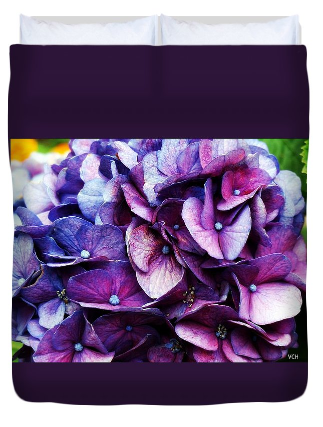 Purple Duvet Cover featuring the photograph A Puff Of Purple by Veronica Henson