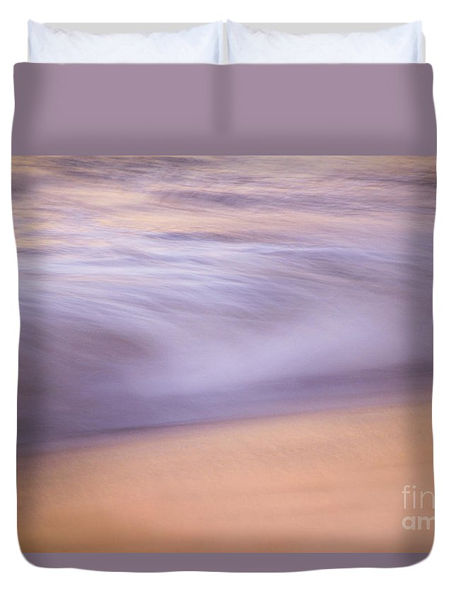 Waves Duvet Cover featuring the photograph A Purple Soft Sea by Jeanne McGee