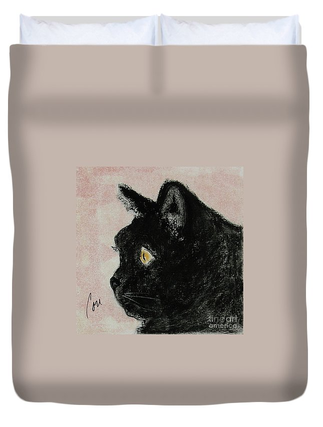 Pastels Duvet Cover featuring the mixed media A Purrfect Vision by Cori Solomon