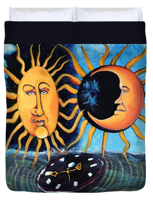 Sun Duvet Cover featuring the painting A Quarter Til Becoming One by Dennis Tawes