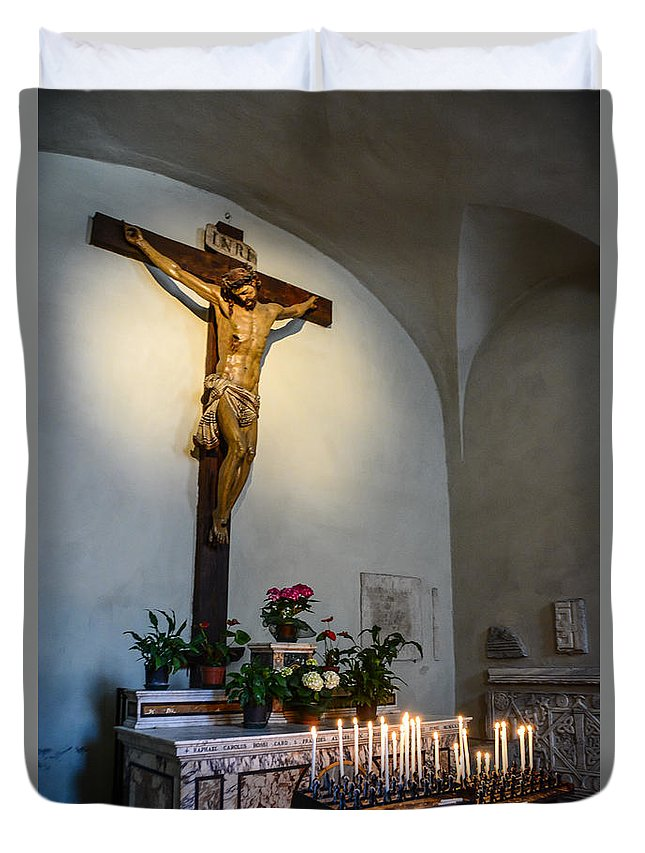 Cross Duvet Cover featuring the photograph A Quiet Moment With God by Maggie Magee Molino