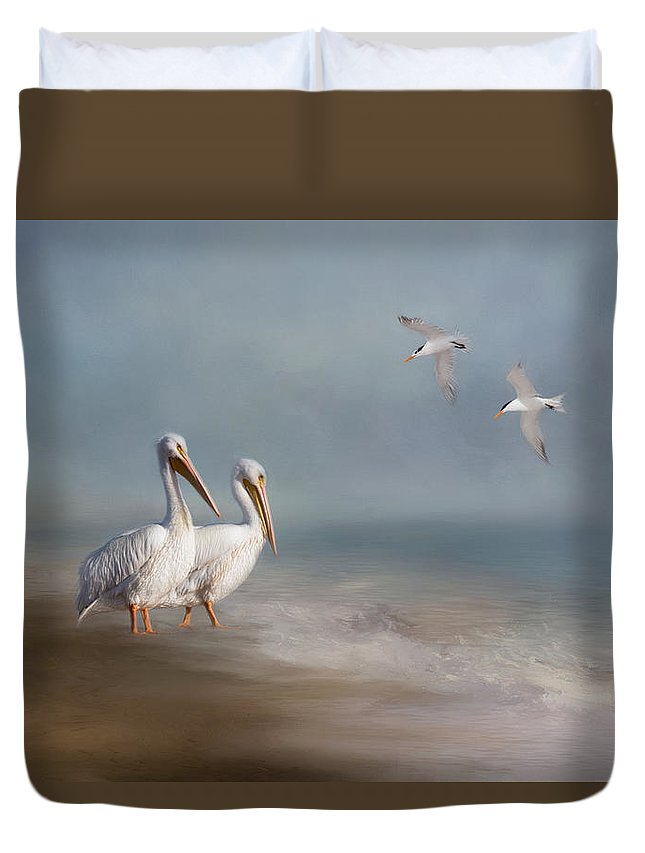 Landscape Duvet Cover featuring the photograph A Quiet Morning by Kim Hojnacki
