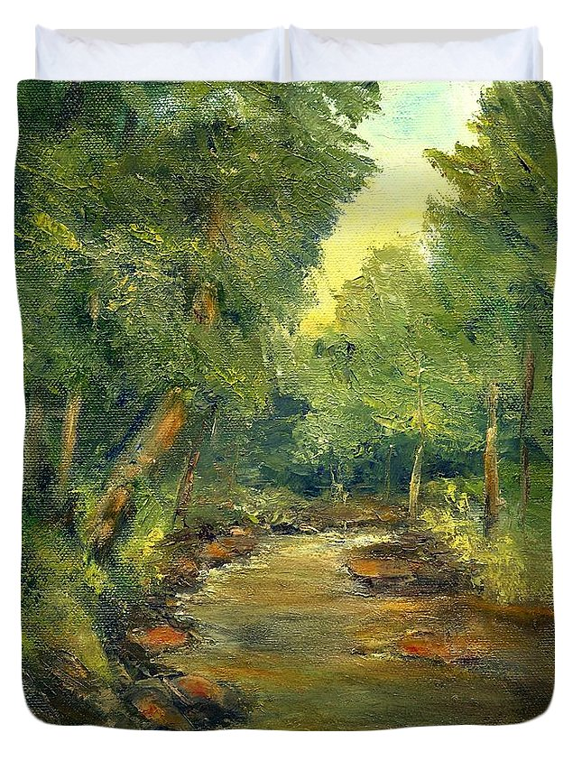 Creek Duvet Cover featuring the painting A Quiet Place by Gail Kirtz