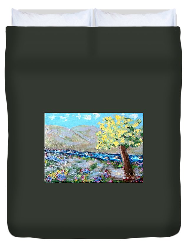 Landscapes Duvet Cover featuring the painting A Quiet Place by Laurie Morgan
