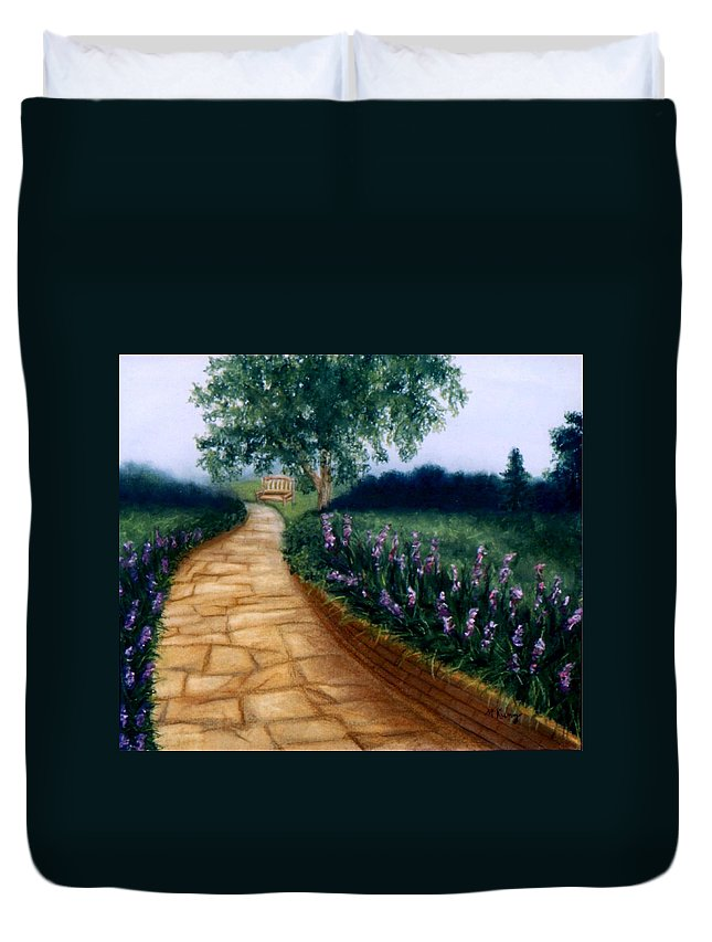 Landscape Duvet Cover featuring the painting A Quiet Place by Melissa Joyfully