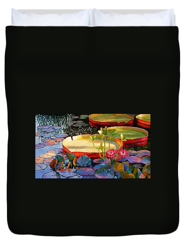 Garden Pond Duvet Cover featuring the painting A Quiet Summer Morning by John Lautermilch