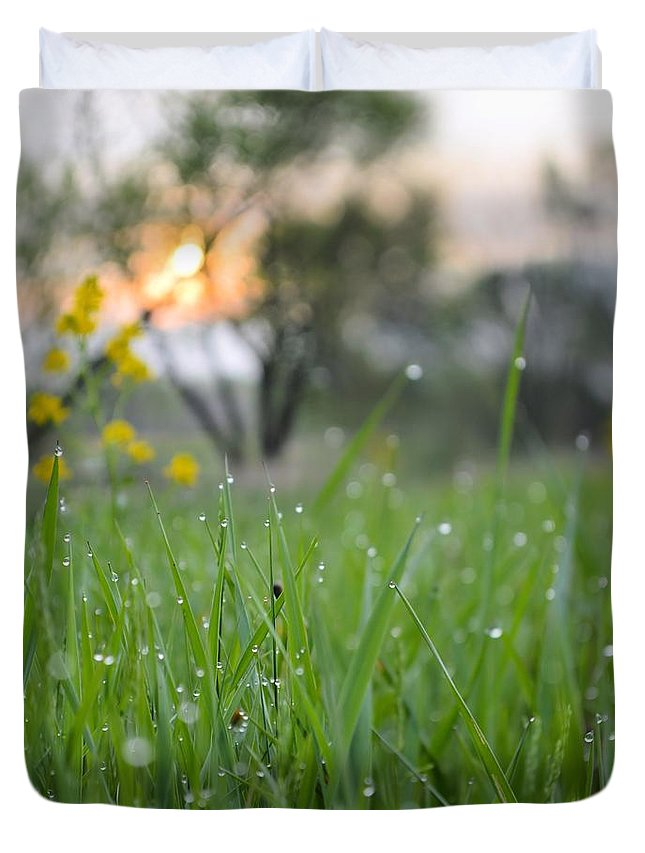 Grass Duvet Cover featuring the photograph A Rabbits View by Bonfire Photography