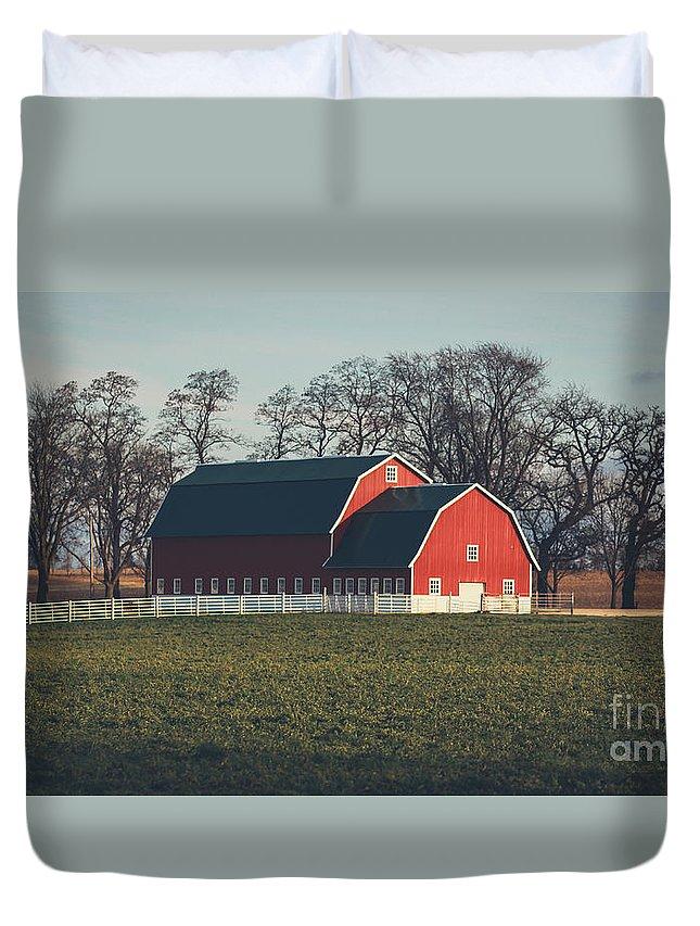 Shopiere Duvet Cover featuring the photograph A Red Barn by Viviana Nadowski