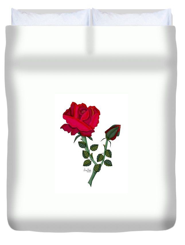 Rose Duvet Cover featuring the painting A Red Rose Blooms In Winter by Anne Norskog