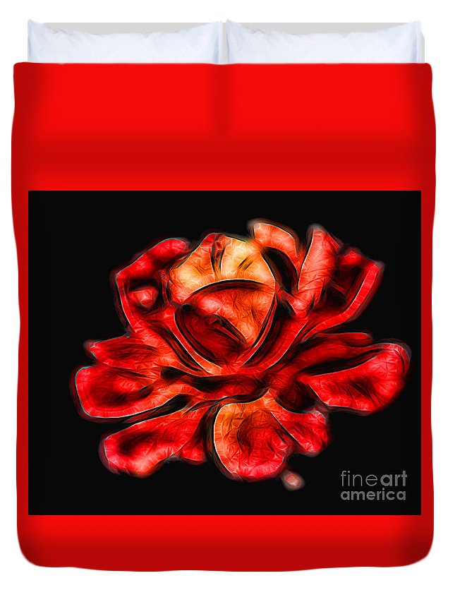 Red Duvet Cover featuring the photograph A Red Rose For You 2 by Mariola Bitner
