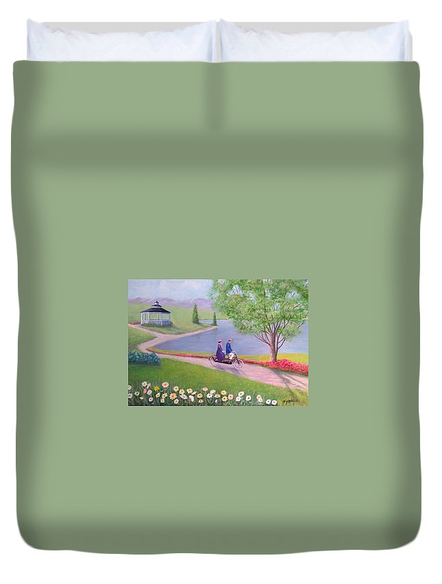 Landscape Duvet Cover featuring the painting A Ride In The Park by William H RaVell III