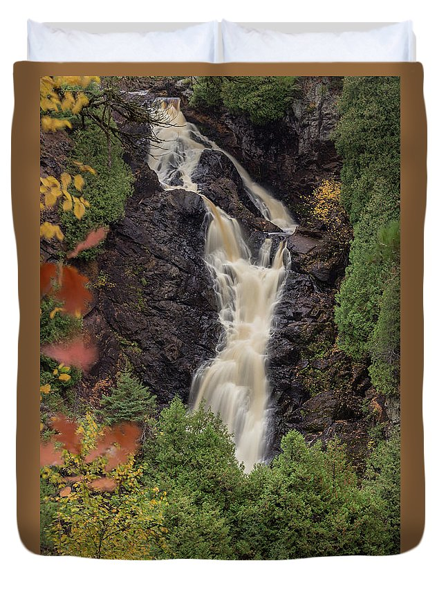 Big Manitou Falls Duvet Cover featuring the photograph A River Runs Through It by Yvette Schneider-Little