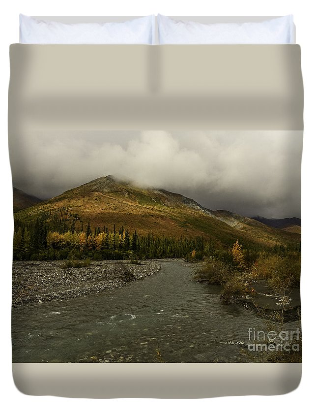 A River Runs Through The Brooks Range Alaska Duvet Cover featuring the photograph A River Runs Through The Brooks Range Alaska by Teresa A and Preston S Cole Photography