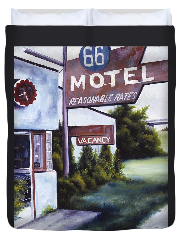 Motel; Route 66; Desert; Abandoned; Delapidated; Lost; Highway; Route 66; Road; Vacancy; Run-down; Building; Old Signage; Nastalgia; Vintage; James Christopher Hill; Jameshillgallery.com; Foliage; Sky; Realism; Oils Duvet Cover featuring the painting A Road Less Traveled by James Christopher Hill