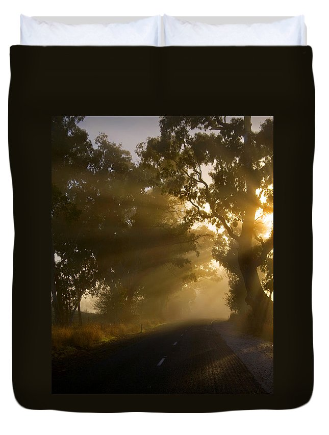 Highway Duvet Cover featuring the photograph A Road Less Traveled by Mike Dawson