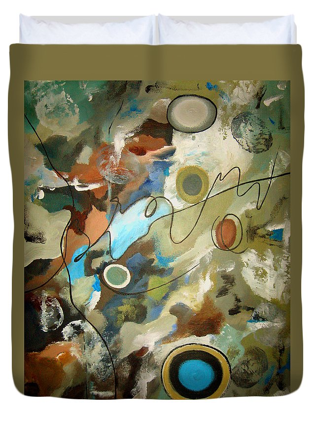 Abstract Duvet Cover featuring the painting A Rolling Stone Gathers No Moss by Ruth Palmer