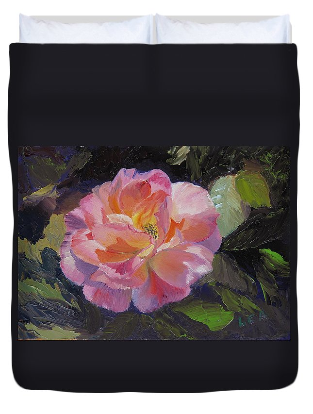 Rose Duvet Cover featuring the painting A Rose For Aunt Rosie by Lea Novak