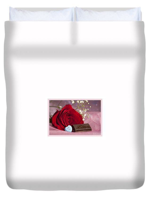 Flowers Duvet Cover featuring the photograph A Rose For Valentine's Day by Donna Crider