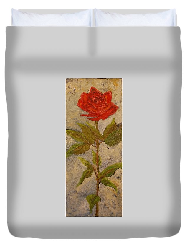 Flowers Duvet Cover featuring the painting A Rose Is A Rose by Angie Dachs
