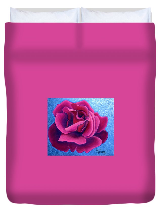 Rose. Pink Rose Duvet Cover featuring the painting A Rose Is A Rose.. by Minaz Jantz