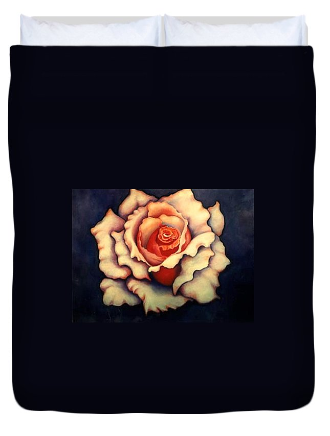 Flower Duvet Cover featuring the painting A Rose by Jordana Sands