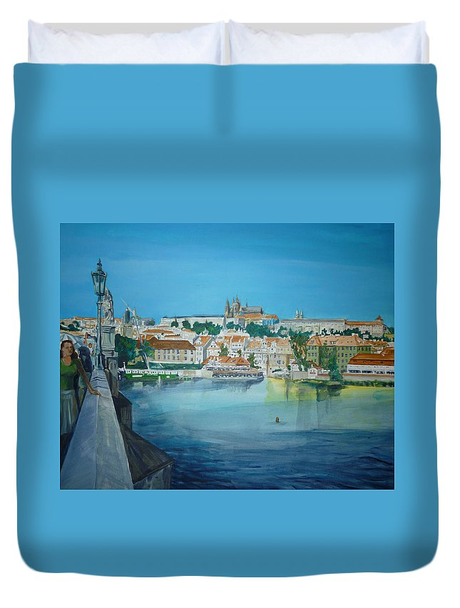 Prague Duvet Cover featuring the painting A Scene In Prague 3 by Bryan Bustard