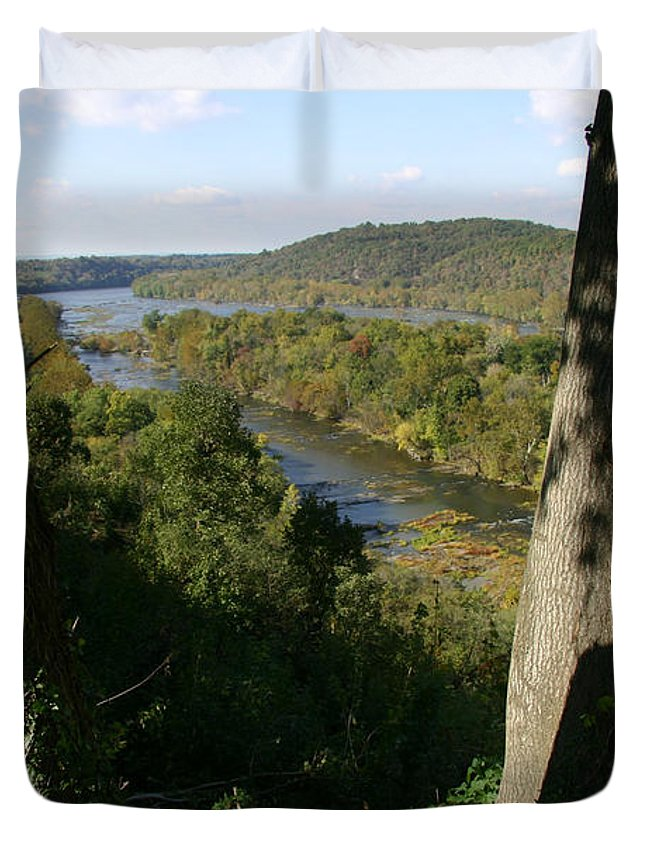 Harpers Ferry Duvet Cover featuring the photograph A Scenic View Of The Potomac River by Stephen St. John