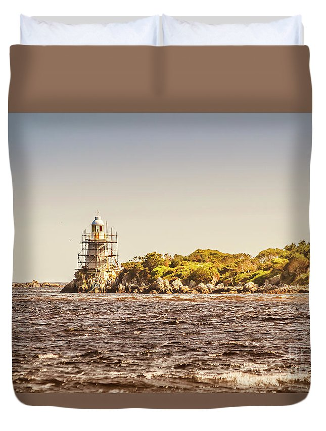Light House Duvet Cover featuring the photograph A Seashore Construction by Jorgo Photography - Wall Art Gallery