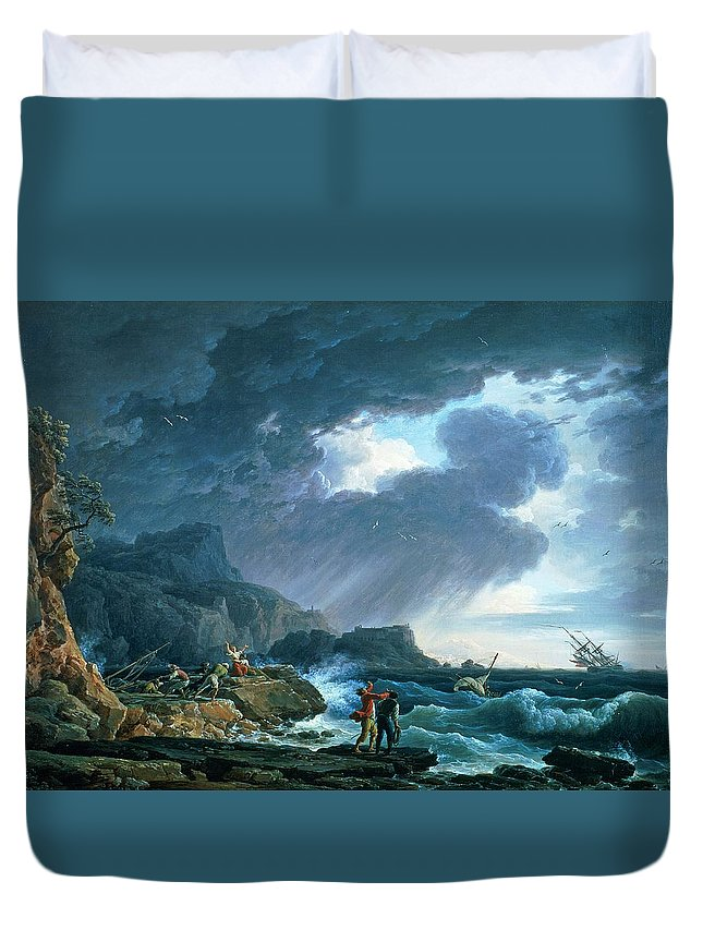 A Seastorm Duvet Cover featuring the painting A Seastorm by Claude Joseph Vernet