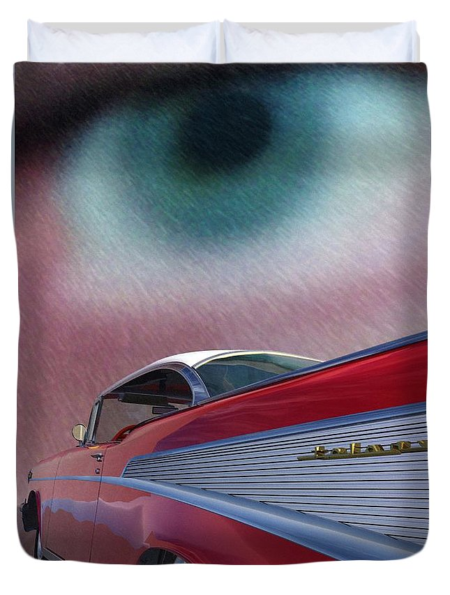 Classic Cars Duvet Cover featuring the digital art A Second Look by Richard Rizzo