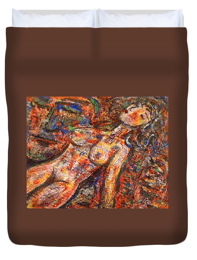 Nude Duvet Cover featuring the painting A Secret Admirer by Natalie Holland