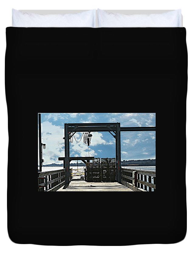 Pier Duvet Cover featuring the photograph A Short Pier In Portsmouth Nh by Barbara S Nickerson